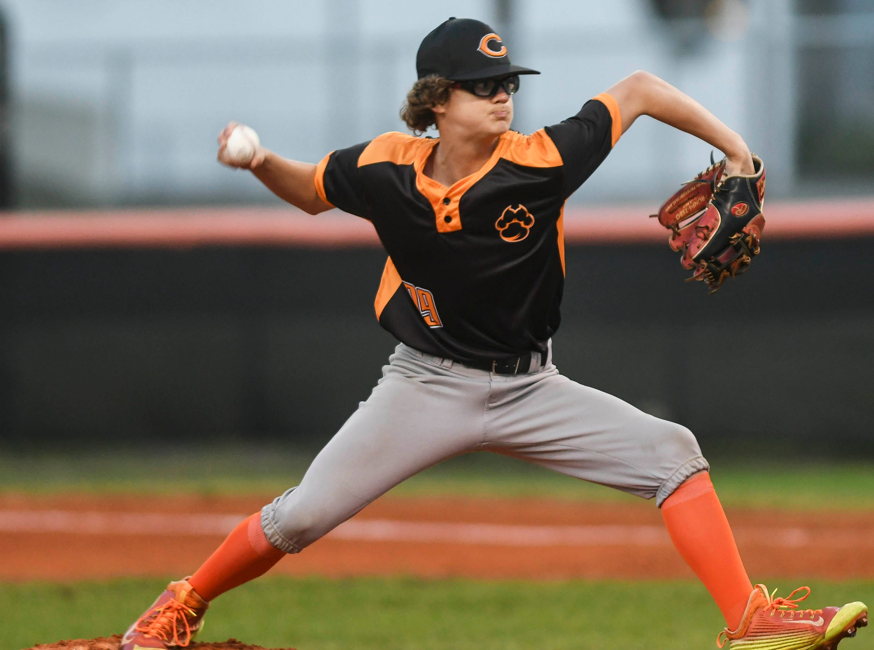 Dalton Ruth pitches for Cocoa during Friday's game against Titusville.
