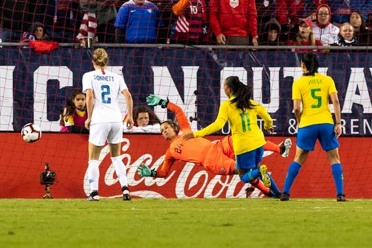United States goalkeeper Ashlyn Harris (24) of Satellite Beach saves a shot on net during the second half against Brazil in a She Believes Cup women's soccer match at Raymond James Stadium.