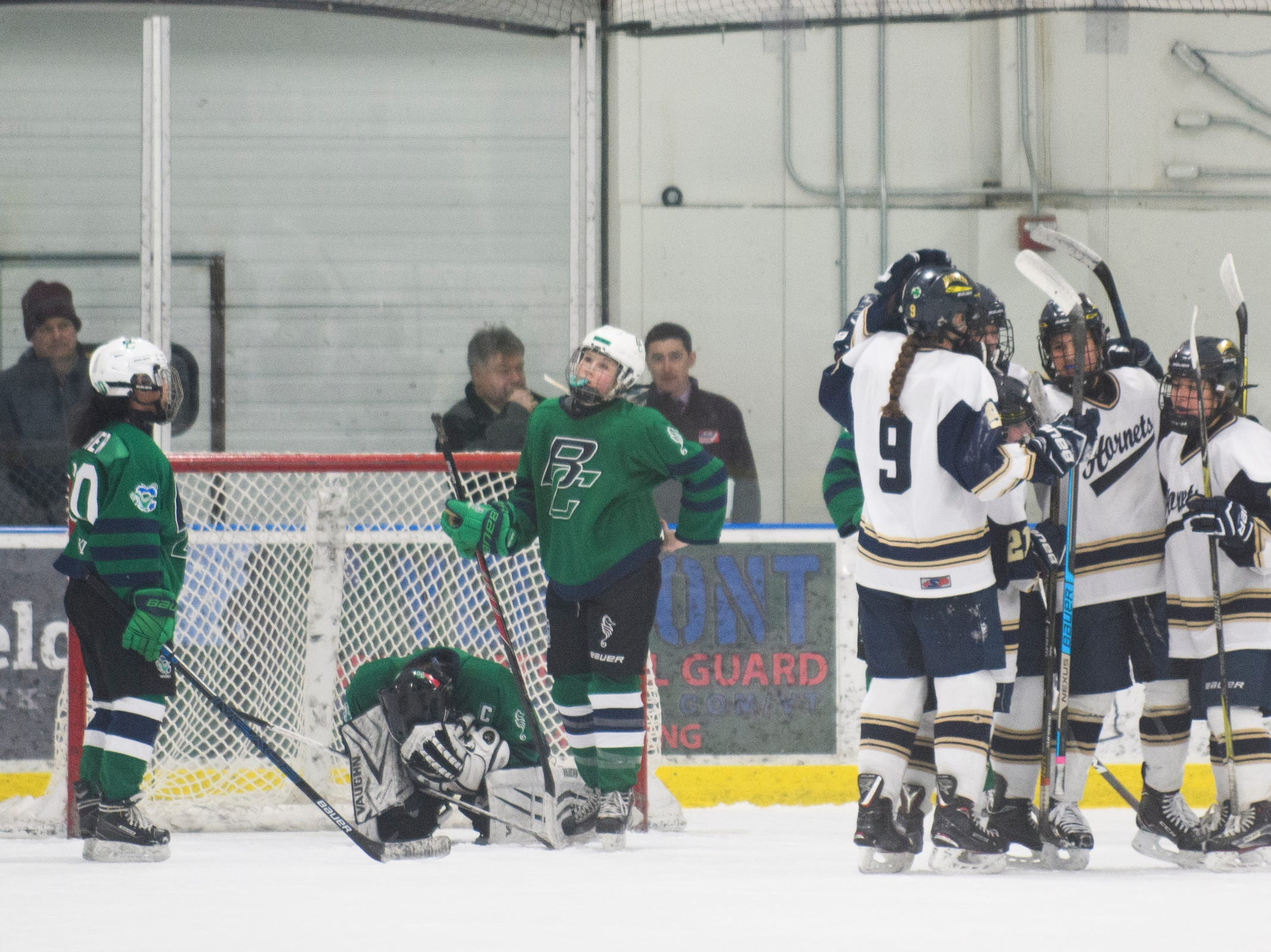 Essex celebrates a goal during the girls semi final hockey game between the Burlington/Colchester Sea Lakers vs. Essex Hornets at Essex skating rink on Saturday afternoon March 9, 2019 in Essex, Vermont.