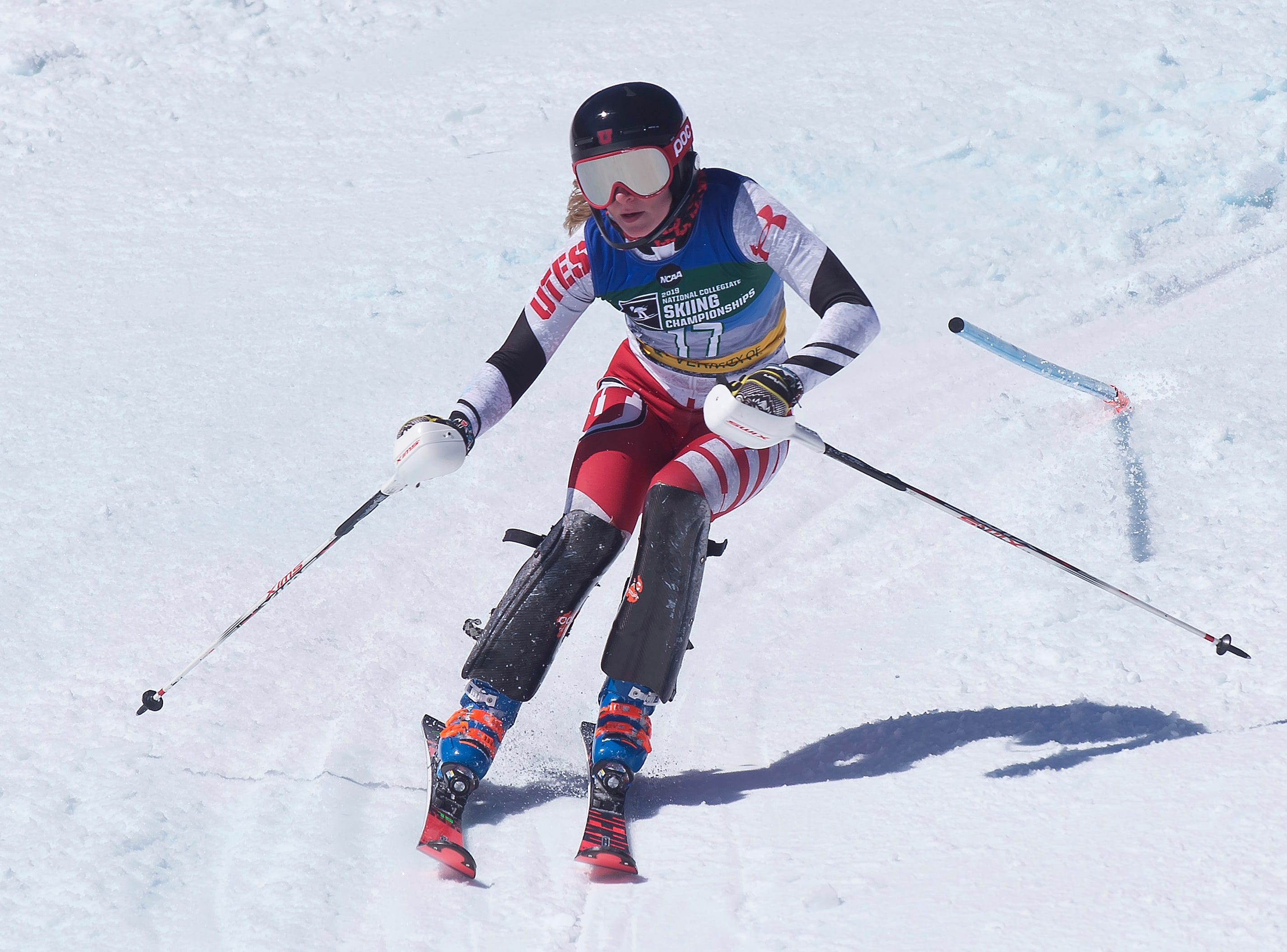 Utah's Erin Linnea Engeset passes a gate at the NCAA slalom championships on Saturday at Stowe Mountain Resort.