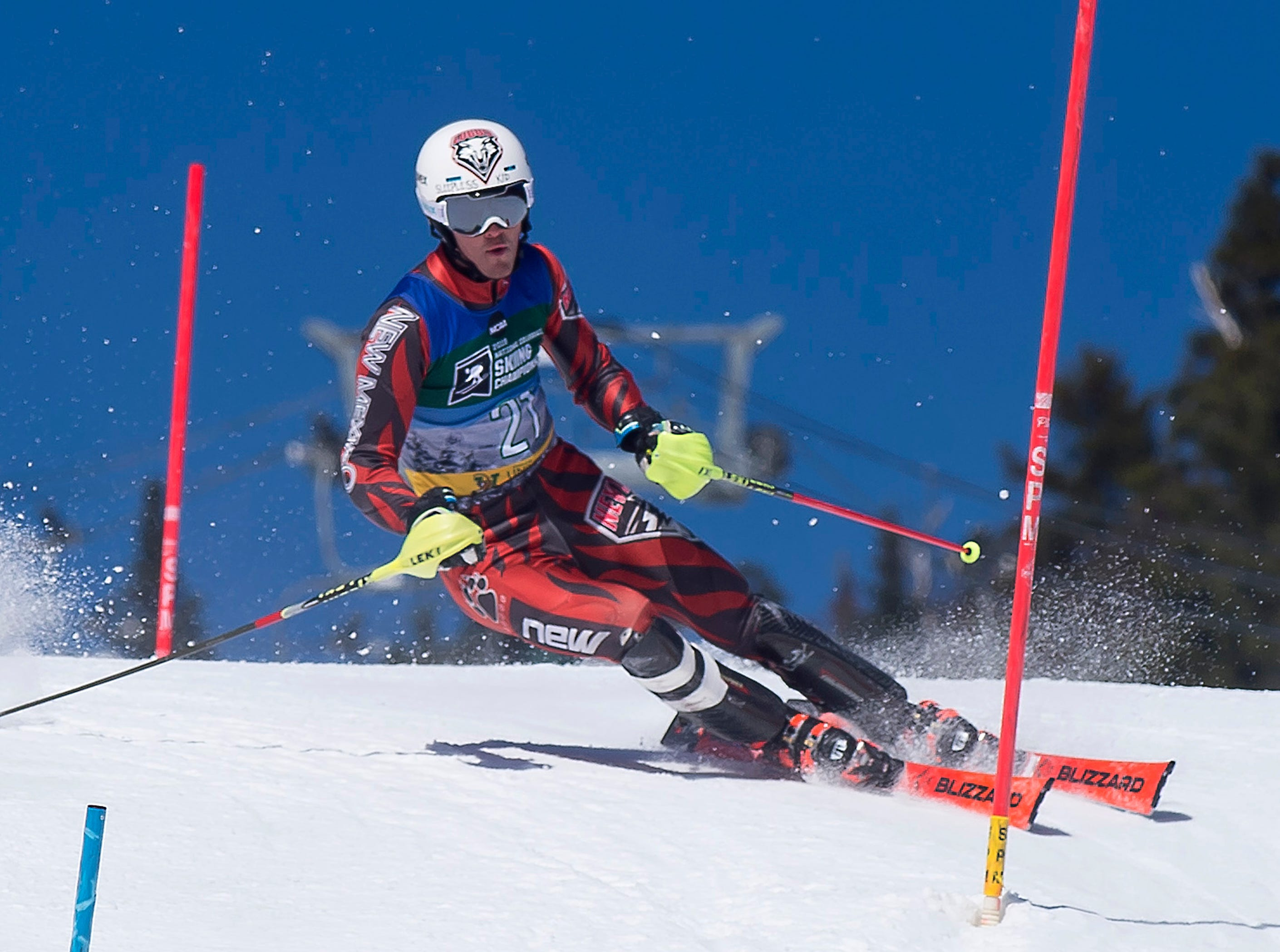 New Mexico's Vegard Busengdal sizes up a turn at the NCAA slalom championships on Saturday at Stowe Mountain Resort.