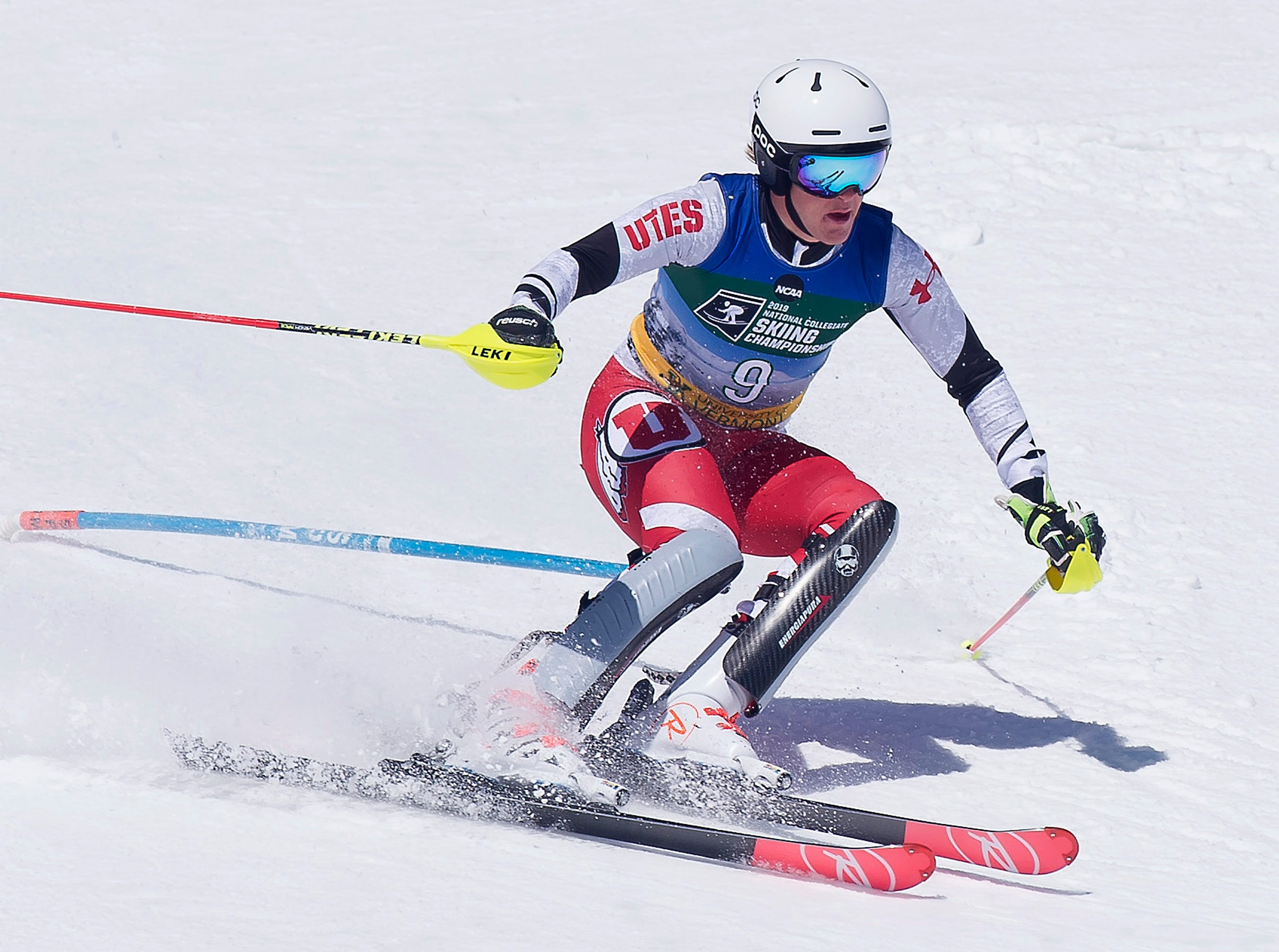 Utah's Joachim Lien knocks down a gate in his second run at the NCAA slalom championships on Saturday at Stowe Mountain Resort.