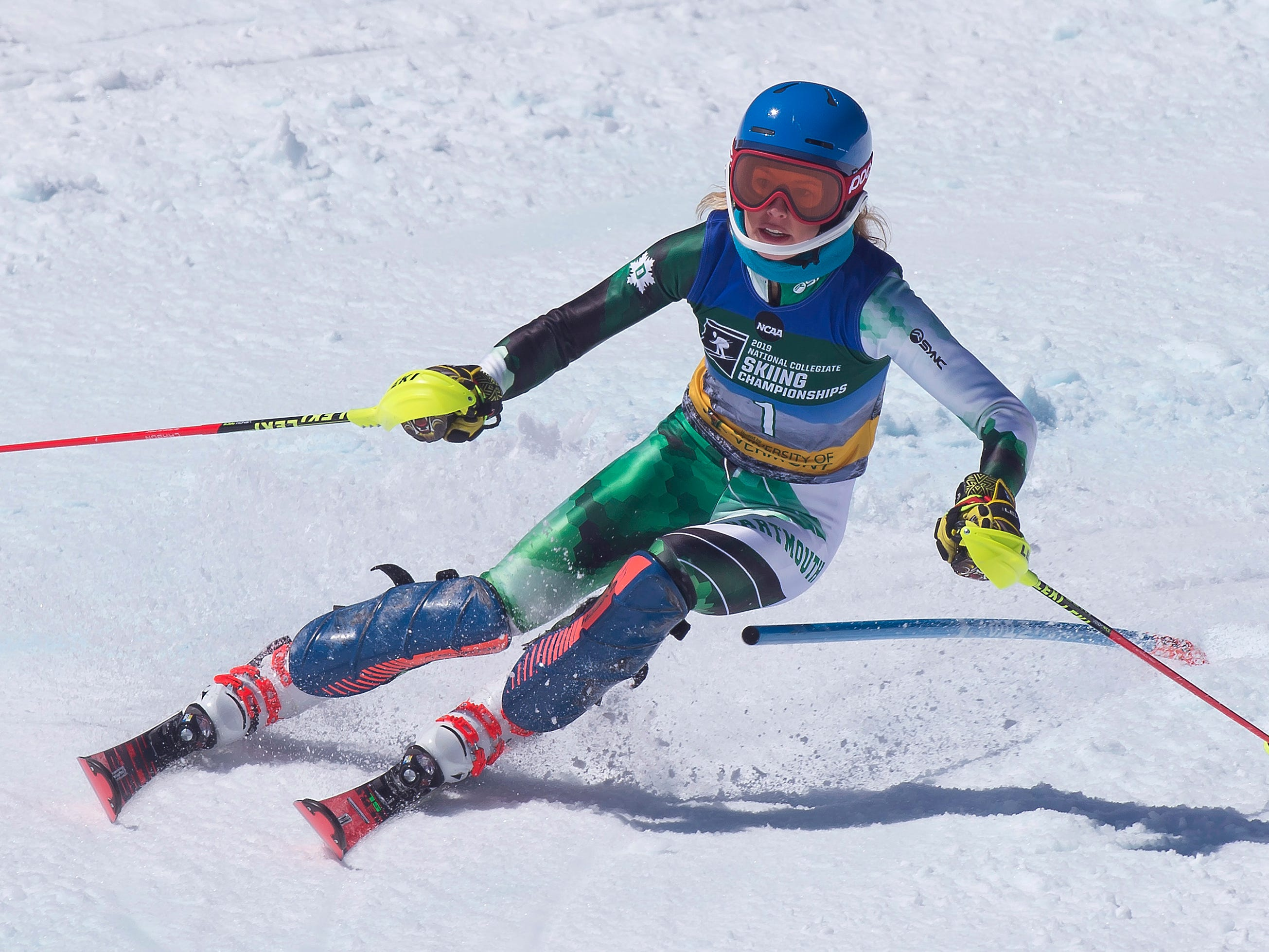 Dartmouth's Patricia Manga clears a gate on her second run at the NCAA slalom championships on Saturday at Stowe Mountain Resort.
