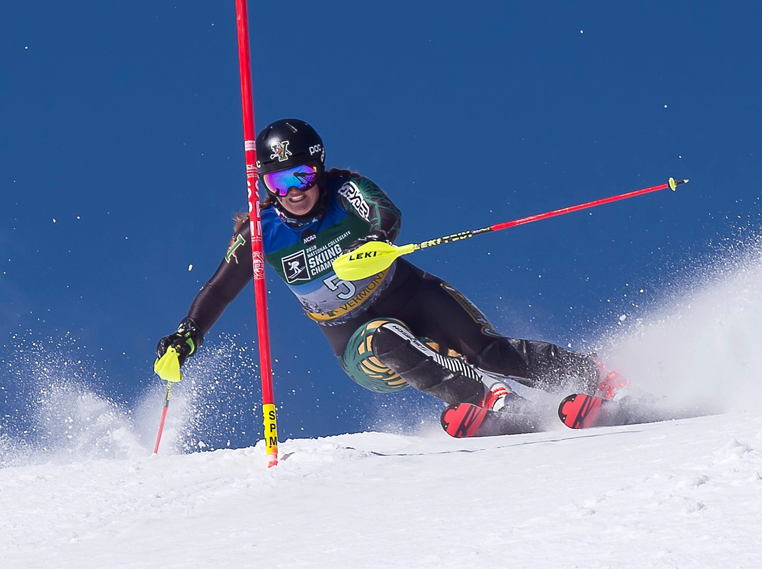 Vermont's Paula Moltzan eyes a gate on the second run at the NCAA slalom championships on Saturday at Stowe Mountain Resort.