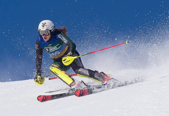 The University of Vermont's Laurence St. Germain skis her second run en route to winning the slalom title at the NCAA championships on Saturday at Stowe Mountain Resort.
