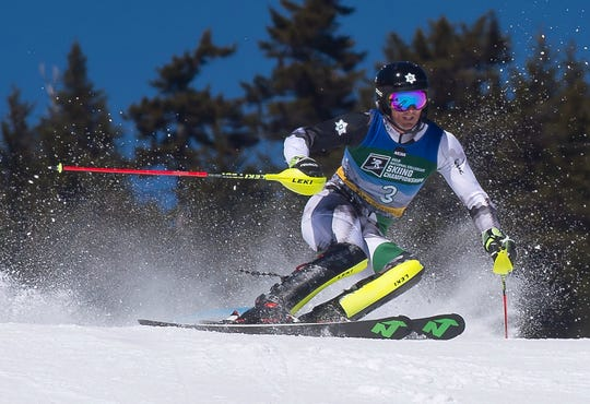 Dartmouth's Drew Duffy crests the final ridge on his second run at the NCAA slalom championships on Saturday at Stowe Mountain Resort.