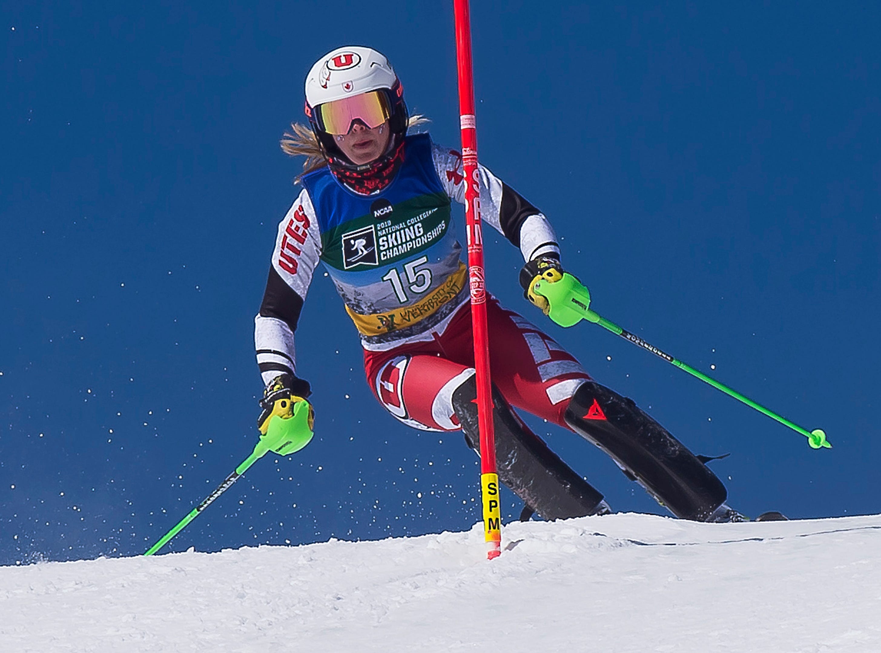 Utah's Roni Remme sizes up a gate at the NCAA slalom championships on Saturday at Stowe Mountain Resort.