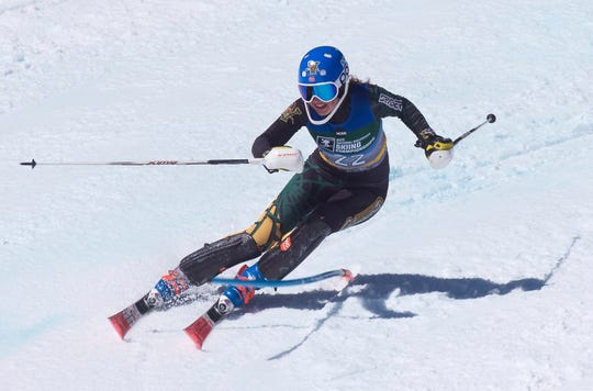 Vermont's Mille Graesdal rounds a gate at the NCAA slalom championships on Saturday at Stowe Mountain Resort.