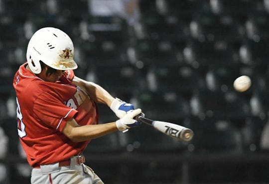 Incarnate Word's Zach Zepeda hits the ball at the game against St. John Paul II, Thursday, March 7, 2019, at Whataburger Field.