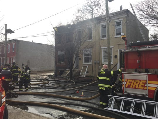 Camden firefighters responded to a house fire on the 800 block of Line Street Friday.
