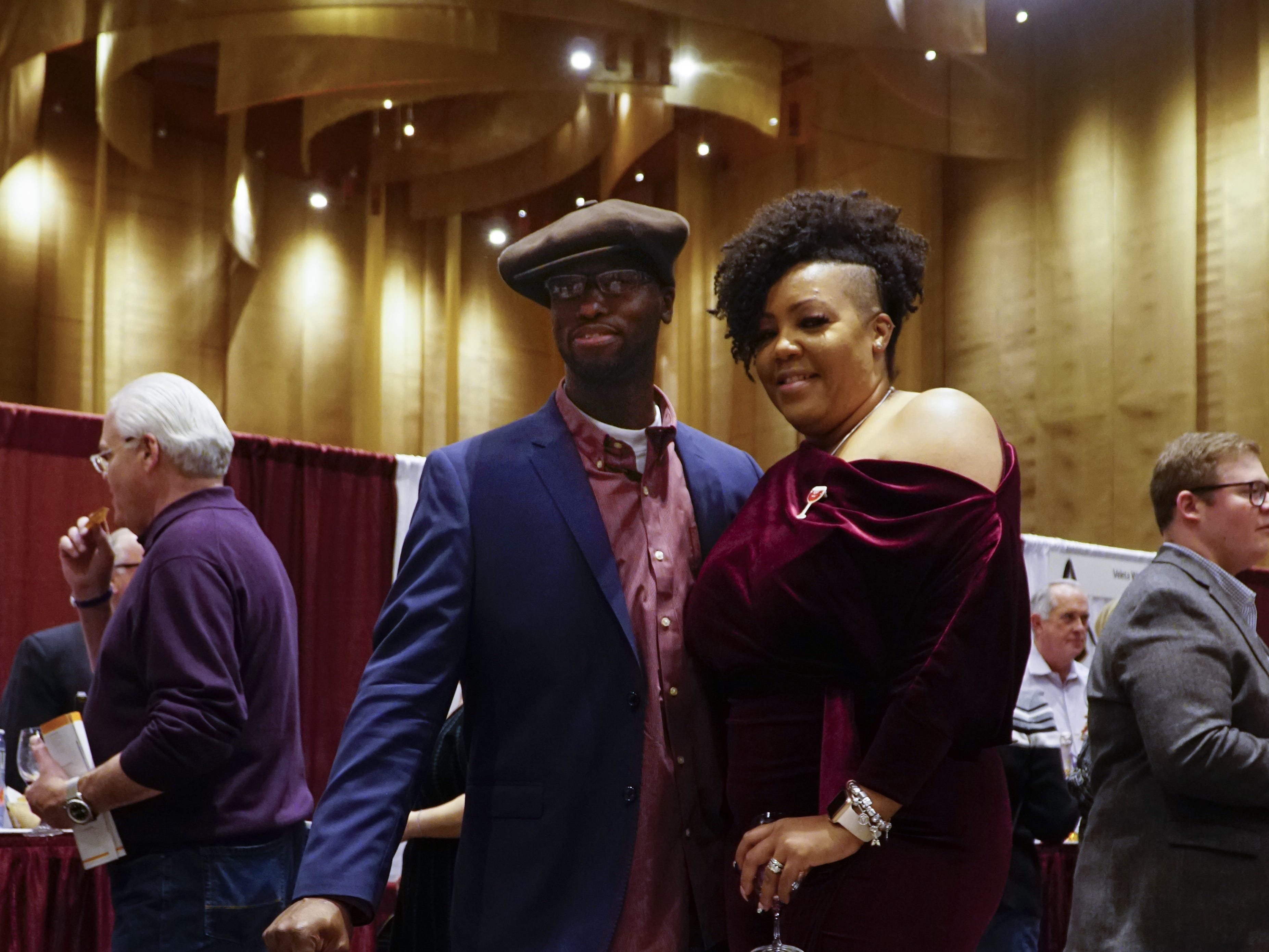 "Former Cincinnatians John and Iris Slade flew from Las Vegas to attend The Cincinnati International Wine Festival, March 9, 2019. ""I had to keep up with her outfit!"" said John, a truck driver, after seeing what his wife had planned to wear."