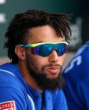 Mar 5, 2019; Tempe, AZ, USA; Kansas City Royals center fielder Billy Hamilton (6) watches from the dugout against the Chicago Cubs in the first inning during a spring training game at Tempe Diablo Stadium. Mandatory Credit: Rick Scuteri-USA TODAY Sports