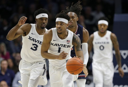 Xavier Musketeers guard Paul Scruggs (1) breaks away with a turnover in the first half of the NCAA Big East game between the Xavier Musketeers and the St. John's Red Storm at the Cintas Center in Cincinnati on Saturday, March 9, 2019. Xavier led 38-33 at halftime.