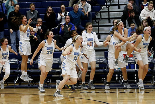 The Mount Notre Dame bench reacts as time runs out during their Division I regional final win over Centerville at Trent Arena in Kettering Saturday, Mar. 9, 2019.