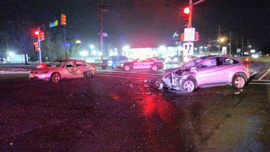 Damaged vehicles after an accident on Route 130 in South Brunswick.