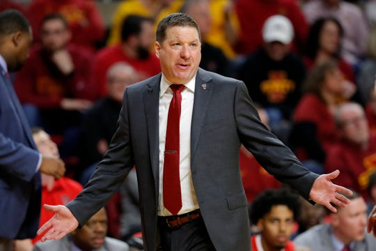 Texas Tech head coach Chris Beard reacts to a call against his team during the second half of an NCAA college basketball game against Iowa State, Saturday, March 9, 2019, in Ames, Iowa. Texas Tech won 80-73.