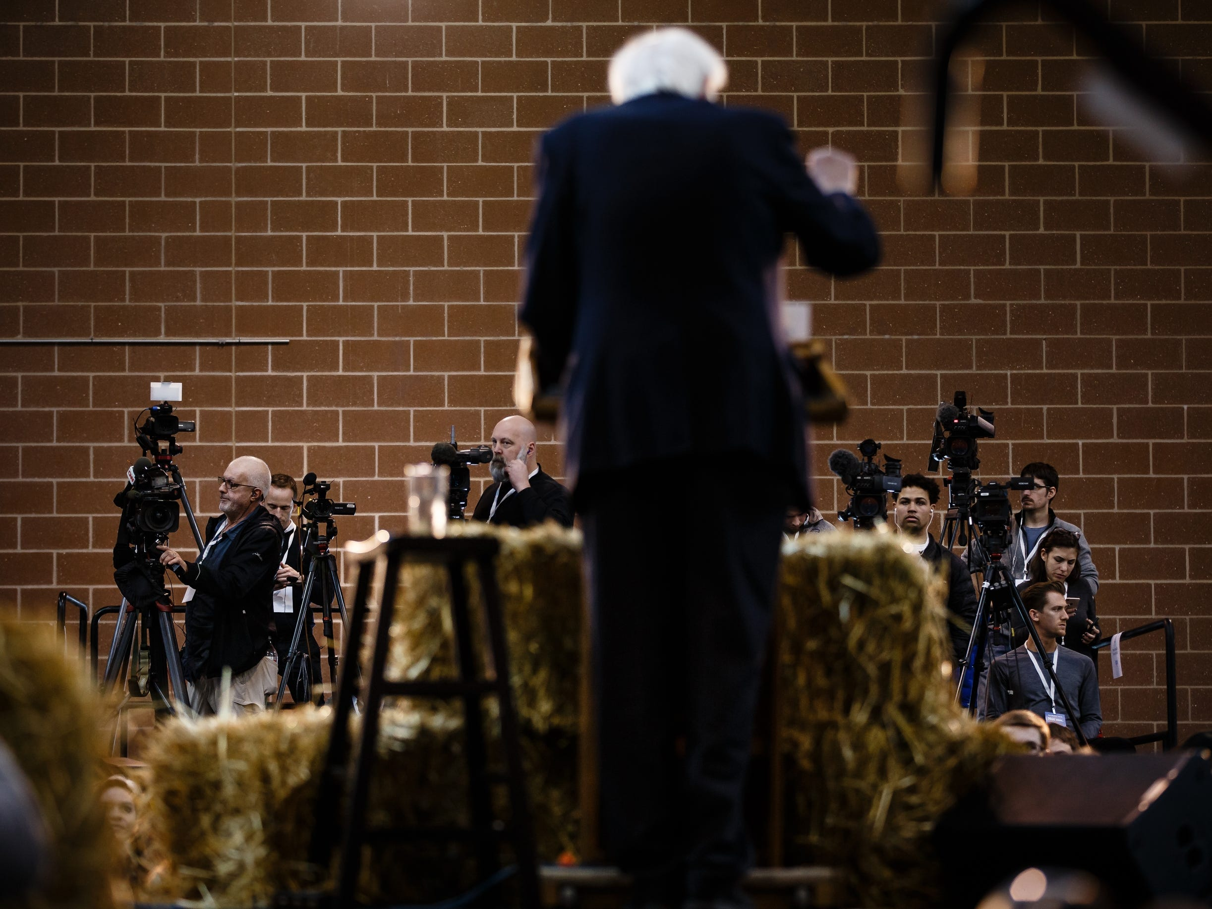 TV camera's record as Democratic presidential candidate Bernie Sanders speaks during a rally at the Iowa State Fairgrounds on Saturday, March 9, 2019 in Des Moines.