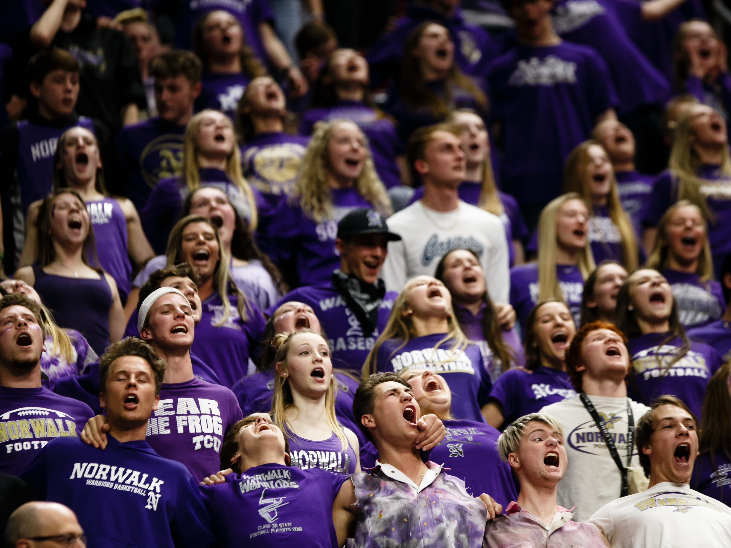 Norwalk's cheering sectino cheers during their boys 3A state basketball championship game on Friday, March 8, 2019 in Des Moines. Norwalk leads Oskaloosa at halftime 31-30.