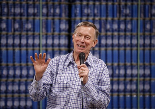 John Hickenlooper, former Colorado governor and current Democratic presidential candidate hopeful, speaks to supporters at Confluence Brewery in Des Moines during a campaign stop on Friday, March 8, 2019.