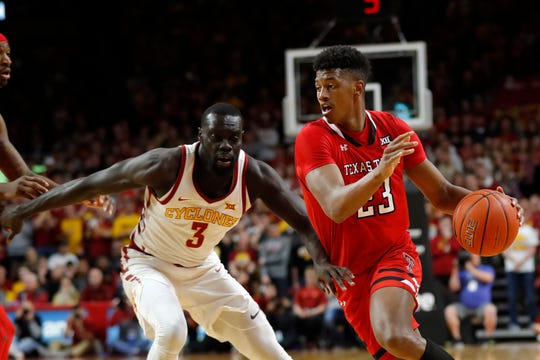 Texas Tech guard Jarrett Culver drives past Iowa State guard Marial Shayok, left, during the second half of an NCAA college basketball game, Saturday, March 9, 2019, in Ames, Iowa. Texas Tech won 80-73.