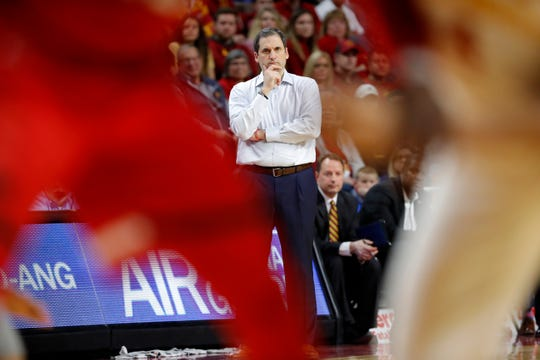 Iowa State head coach Steve Prohm watches from the bench during the second half of an NCAA college basketball game against Texas Tech, Saturday, March 9, 2019, in Ames, Iowa. Texas Tech won 80-73.