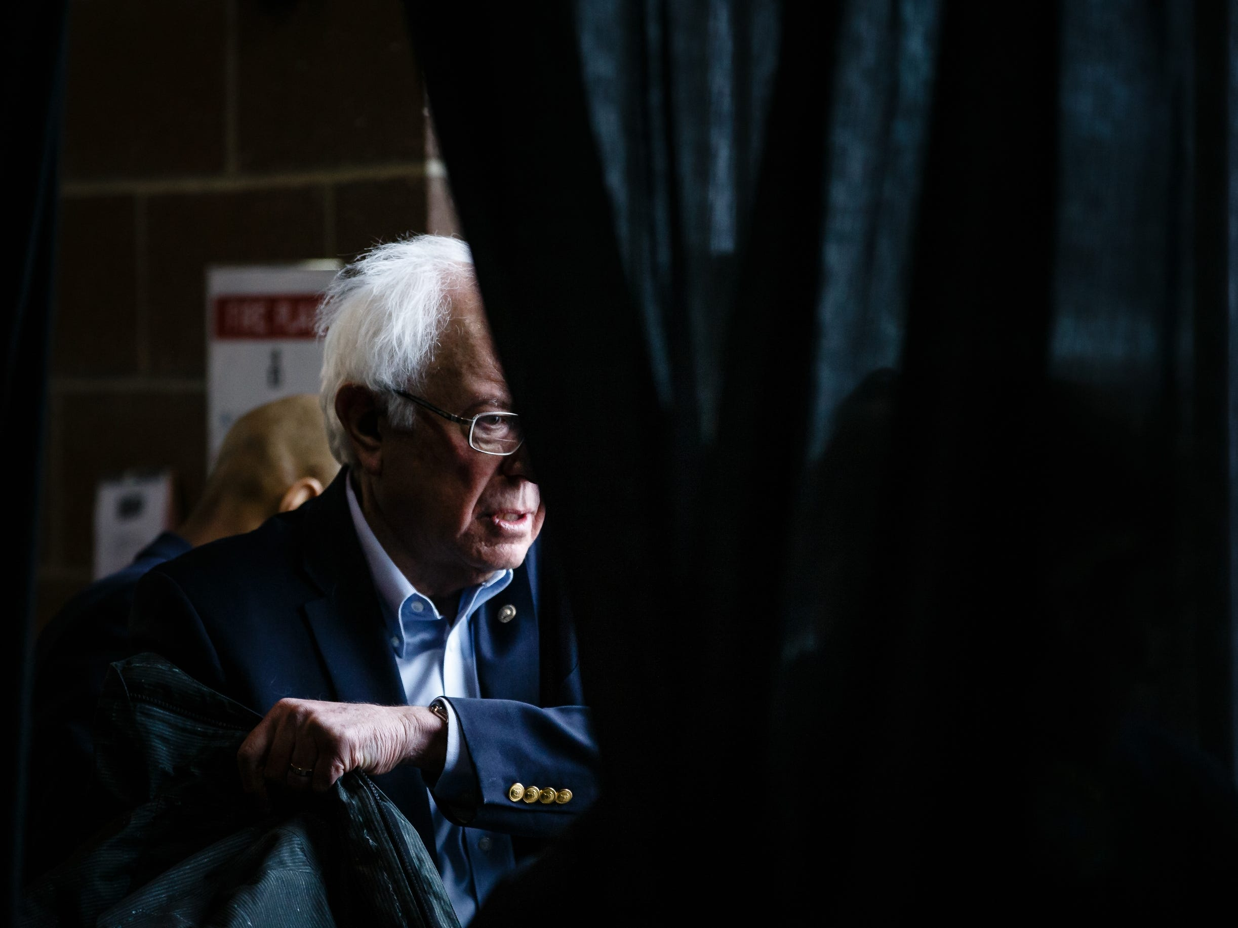 Democratic presidential candidate Bernie Sanders leaves a rally at the Iowa State Fairgrounds on Saturday, March 9, 2019 in Des Moines.