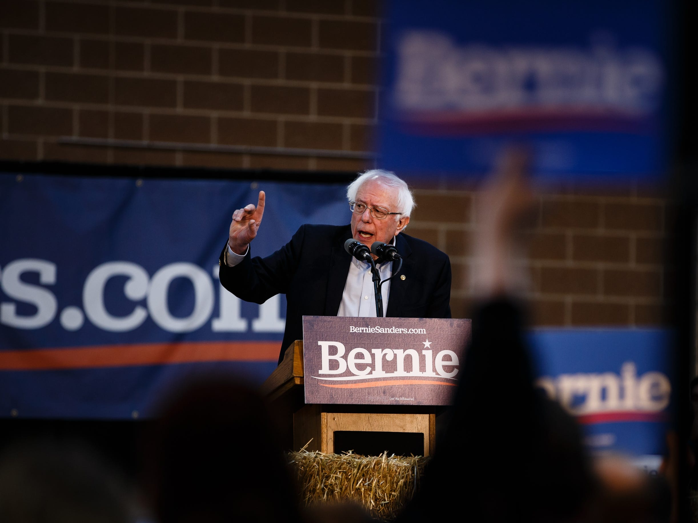 Democratic presidential candidate Bernie Sanders speaks during a rally at the Iowa State Fairgrounds on Saturday, March 9, 2019 in Des Moines.