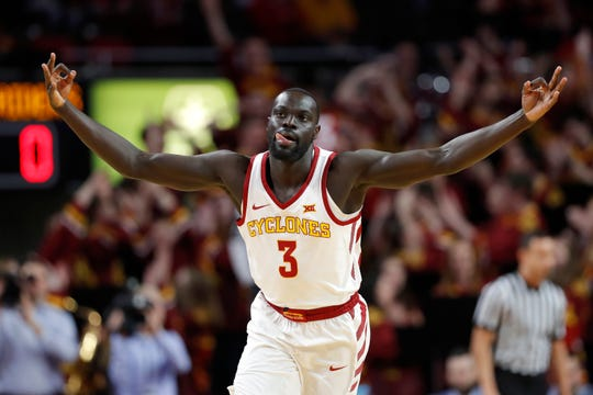 Iowa State guard Marial Shayok celebrates after making a 3-point basket during the first half of an NCAA college basketball game against Texas Tech, Saturday, March 9, 2019, in Ames, Iowa.