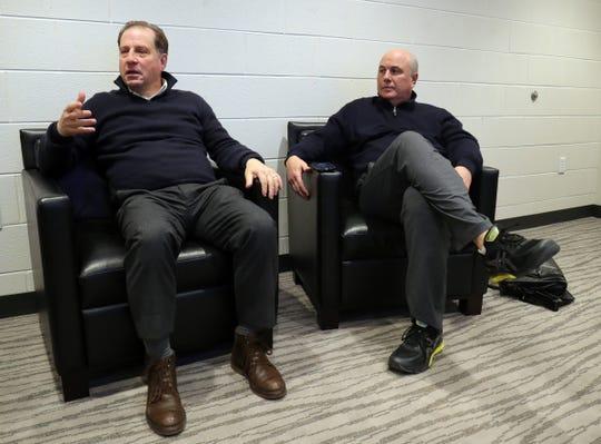 Detroit Pistons vice chairman Arn Tellem, left, and senior advisor Ed Stefanski talk about the Pistons on Wednesday, March 6, 2019, at Little Caesars Arena in Detroit.