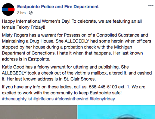 Eastpointe Police and Fire Department's original Facebook post made reference to International Women's Day.