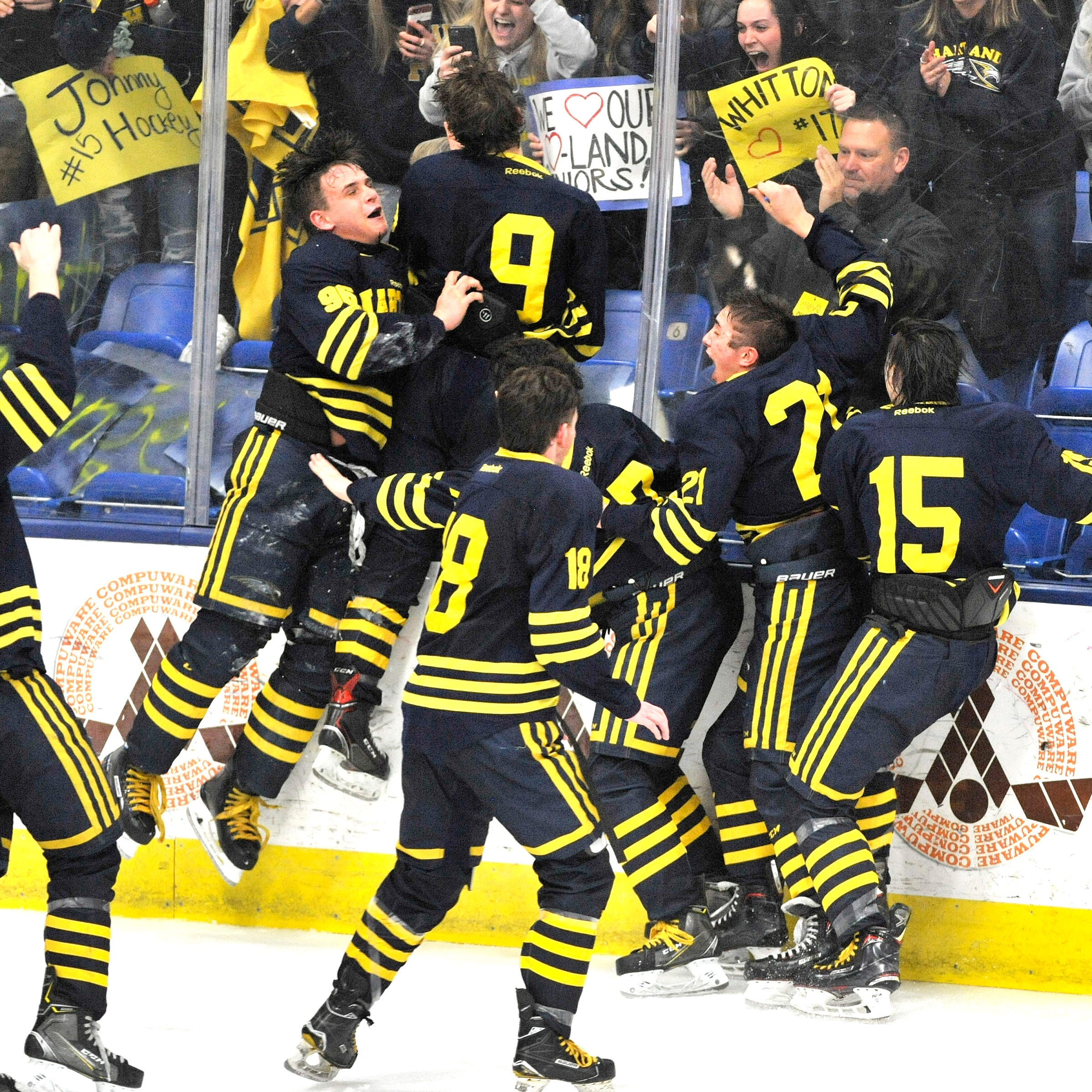 Hartland hockey trounces Trenton for second straight Division 2 state title