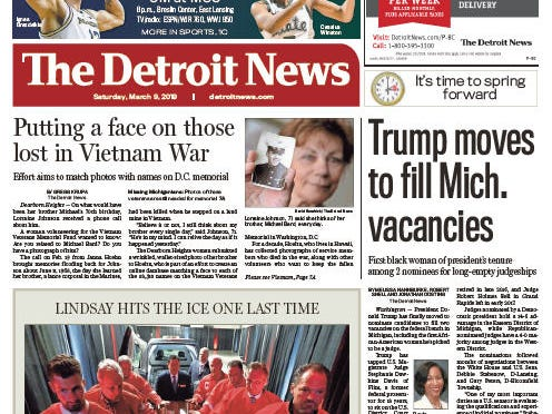 Front page of The Detroit News on Saturday, March 9, 2019.