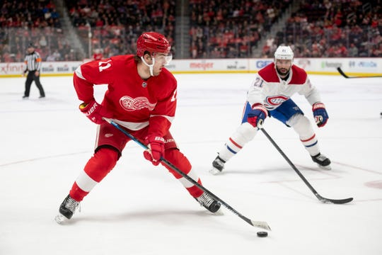 """Red Wings head coach Jeff Blashill says right wing Filip Zadina (11), playing in his sixth NHL game Saturday night, has looked """"more dangerous"""" each game."""