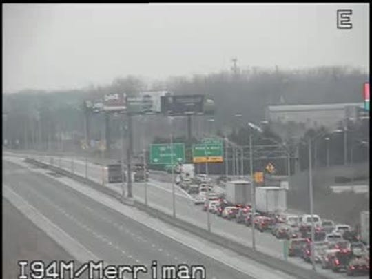 Traffic is being exited off eastbound at I-94 and Merriman.