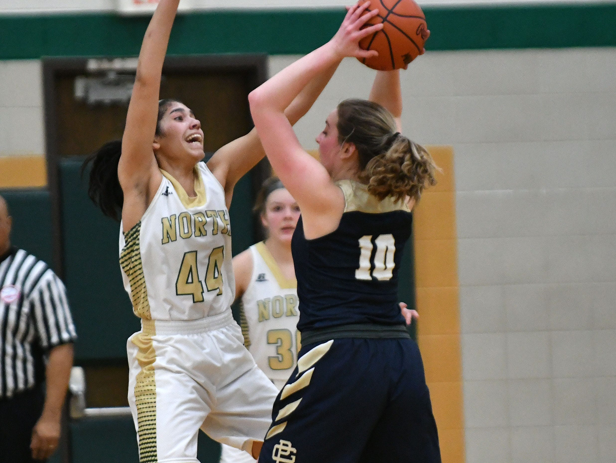 North's Christina Braker plays tight defense against South's Maria Hessburg during the second half. *** Grosse Pointe North cruises to a 42-23 victory over rival Grosse Pointe South in the MHSAA District 26-1 final at Grosse Pointe North High School in Grosse Pointe Woods, Michigan on Friday, March 8, 2019. (John T. Greilick, The Detroit News)