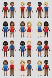 New variations of interracial emoji couples.