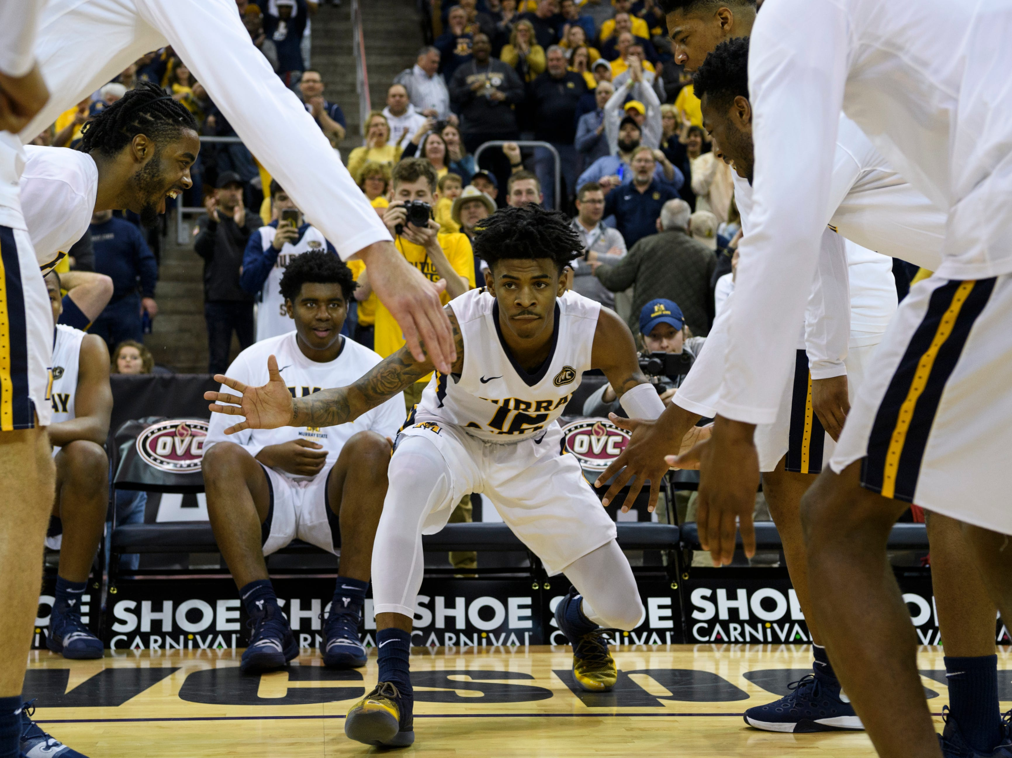 Murray State's Ja Morant (12) is introduced as a starter before the start of the Ohio Valley Conference tournament semifinals against the Jacksonville State University Gamecocks at Ford Center in Evansville, Ind., Friday, March 8, 2019. The Racers defeated the Gamecocks 76-74 to advance to the OVC Championship against the Belmont Bruins.