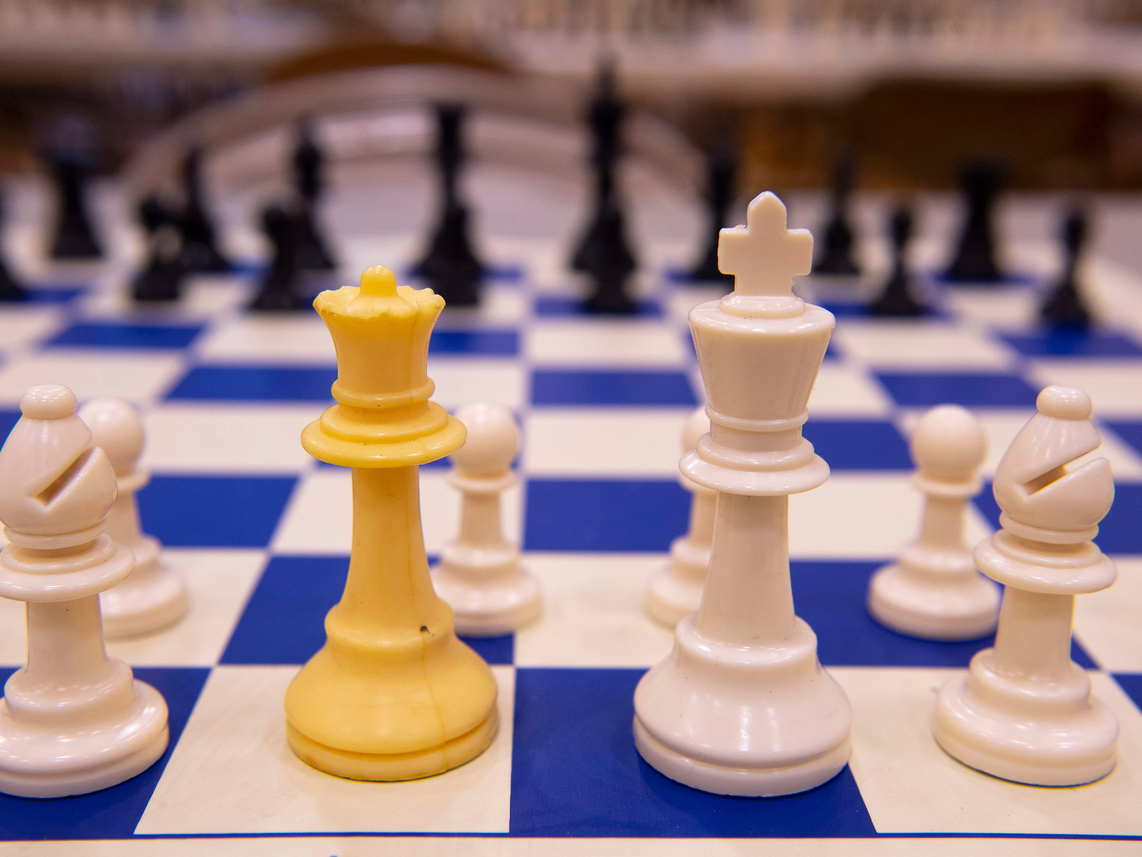 Chess pieces are set up on about 100 boards in preparation for the K-12 Spring Scholastic Chess Tournament at North Junior High School Saturday.