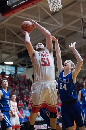 Zach Dove (50) had double figures in both Class 3A regional games as Princeton lost to Silver Creek, 67-58, in the championship on Saturday night.