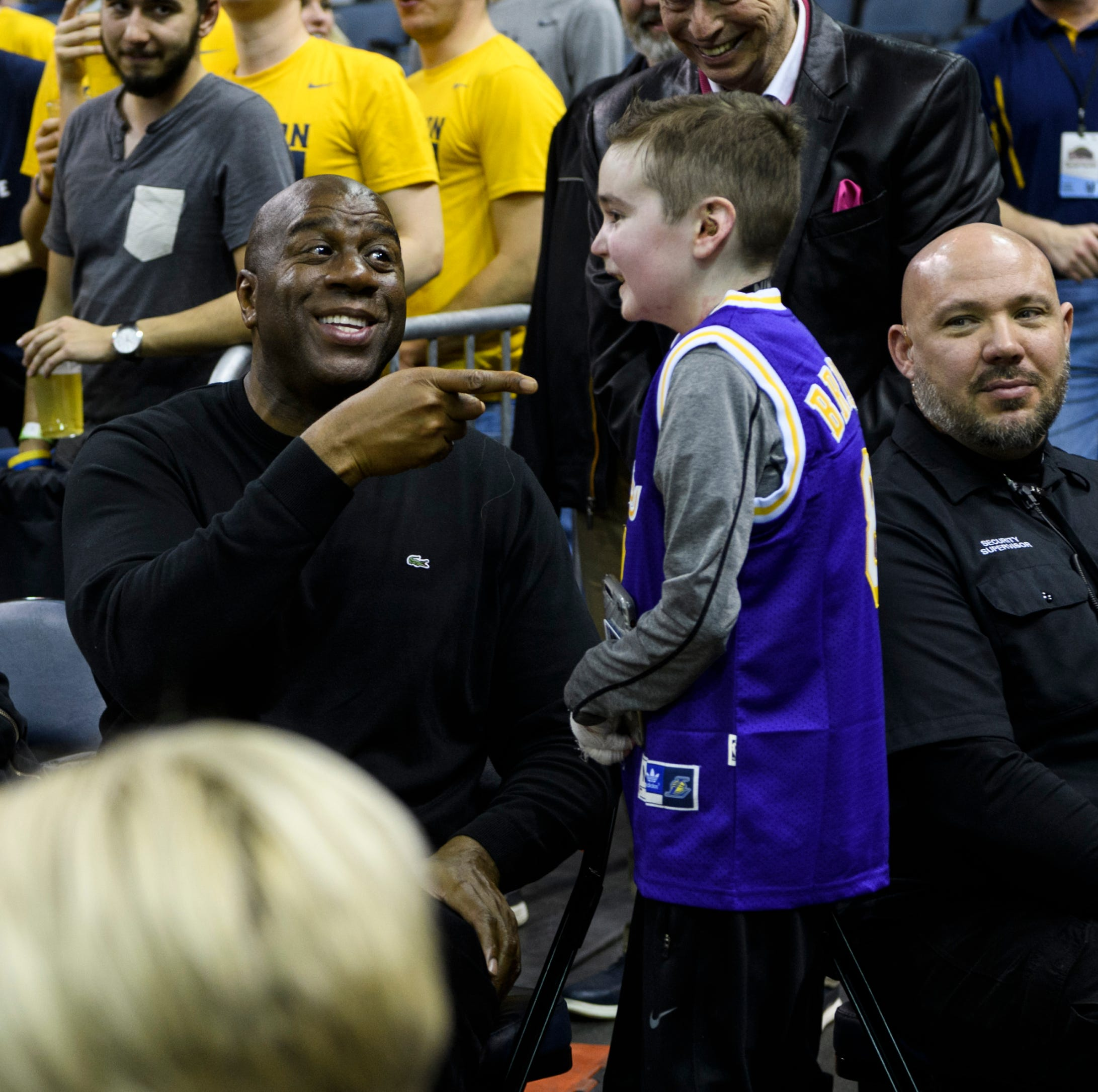Magic Johnson stops by Evansville's Ford Center at OVC Tournament