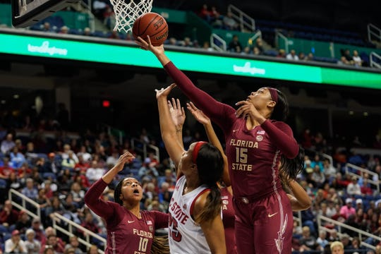 Florida State redshirt junior forward Kiah Gillespie (15) had eight points and 11 rebounds during the Seminoles 69-62 loss to NC State in the quarterfinals of the ACC Tournament.
