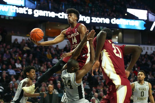Florida State senior guard Terance Mann scored eight points and grabbed seven rebounds during the Seminoles 65-57 victory over Wake Forest on Saturday at Lawrence Joel Coliseum.