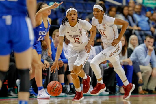 Florida State junior guard Nicki Ekhomu scored seven points and grabbed five rebounds during the Seminoles 51-41 win over Duke in the ACC Tournament.