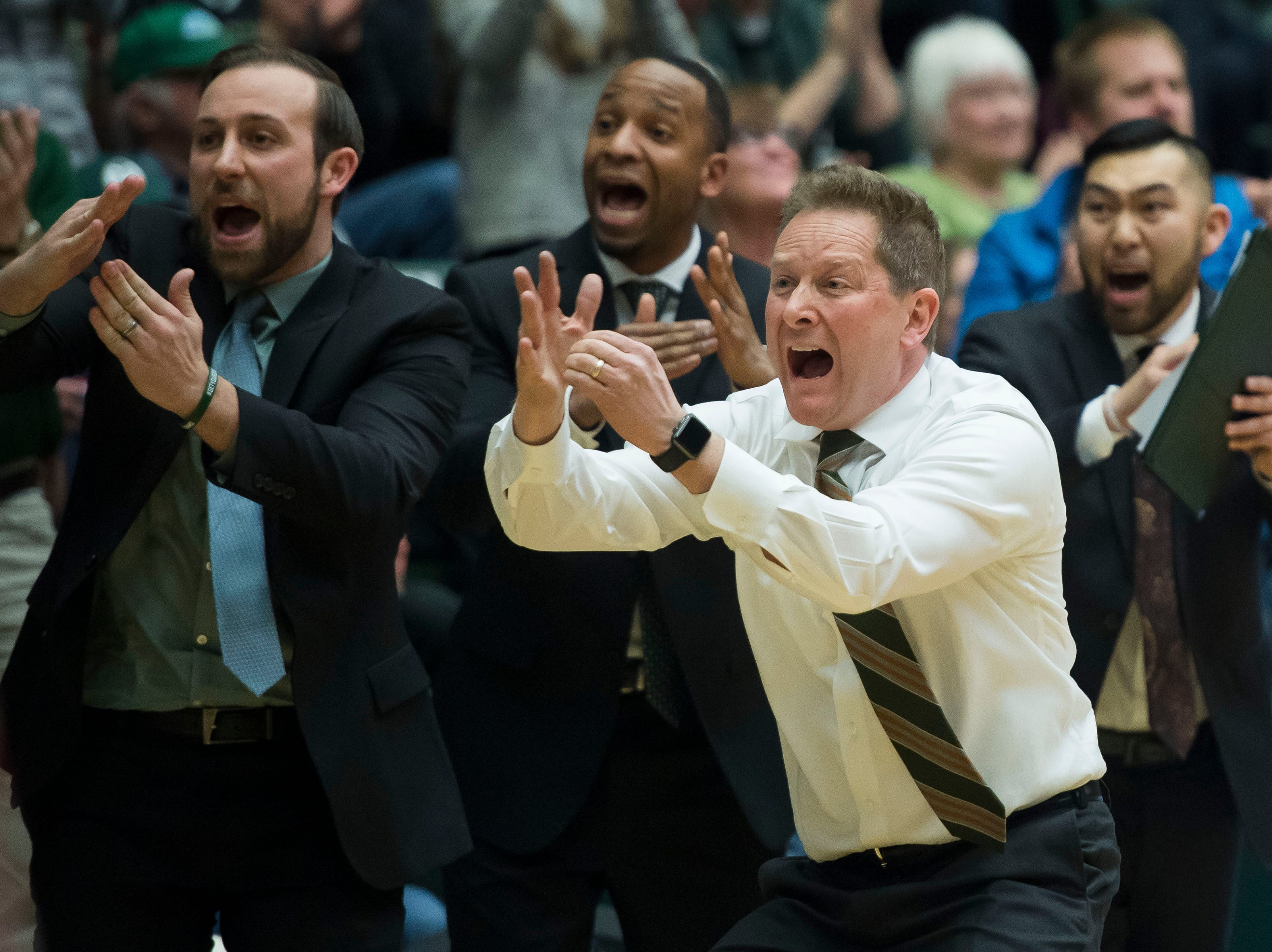 Colorado State University head coach Niko Medved attests to call a timeout during a game against University of Nevada, Las Vegas on Saturday, March 9, 2019, at Moby Arena in Fort Collins, Colo.