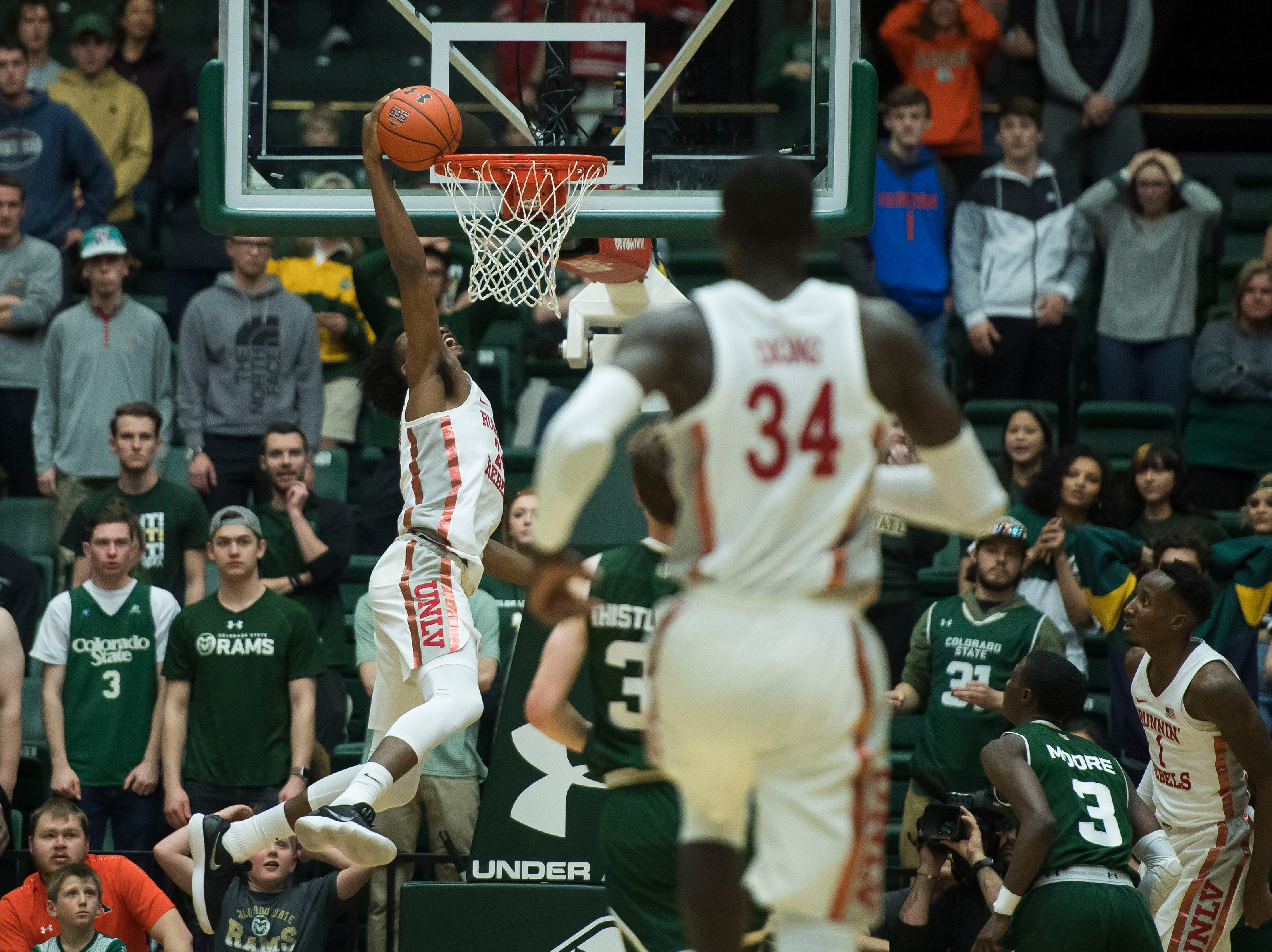 University of Nevada Las Vegas freshman forward Joel Ntambwe (24) misses the dunk during a game against Colorado State University on Saturday, March 9, 2019, at Moby Arena in Fort Collins, Colo.