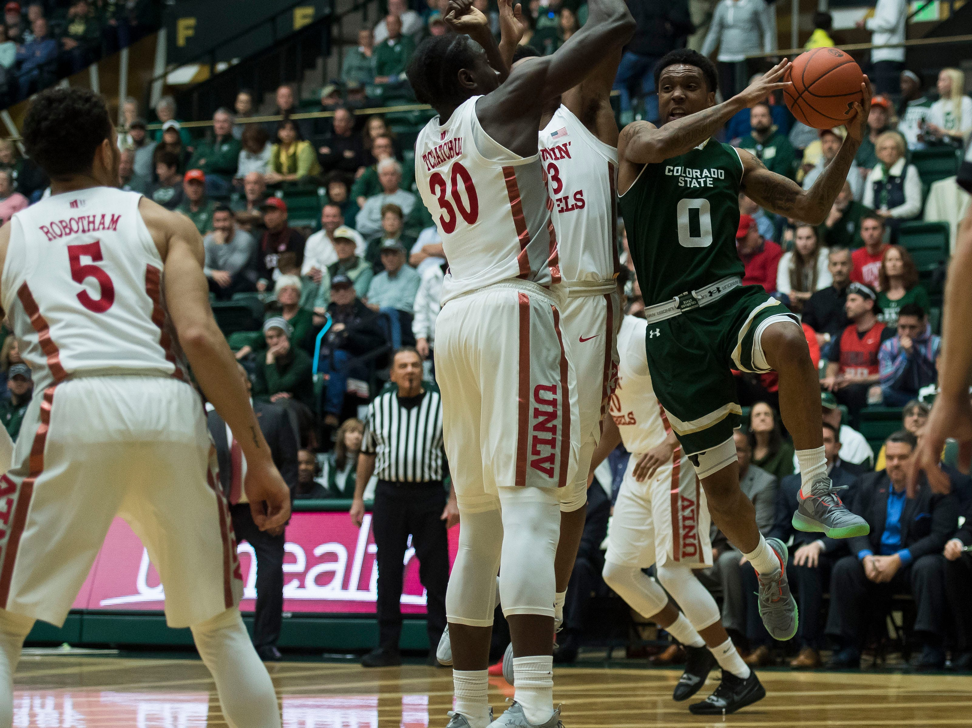 Colorado State University senior guard Hyron Edwards (0) looks to pass during a game against University of Nevada Las Vegas on Saturday, March 9, 2019, at Moby Arena in Fort Collins, Colo.