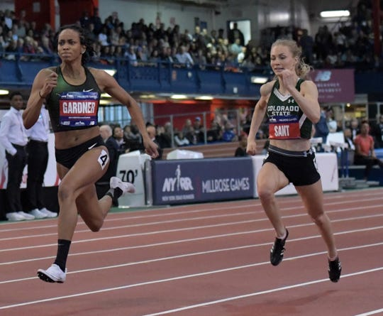CSU's MaryBeth Sant competes against winner English Gardner in the 60-meter dash at the Millrose Games on Feb. 9 in New York. Sant finished fifth in that race and 11th Friday at the NCAA Indoor Track and Field Championships in Birmingham, Alabama.