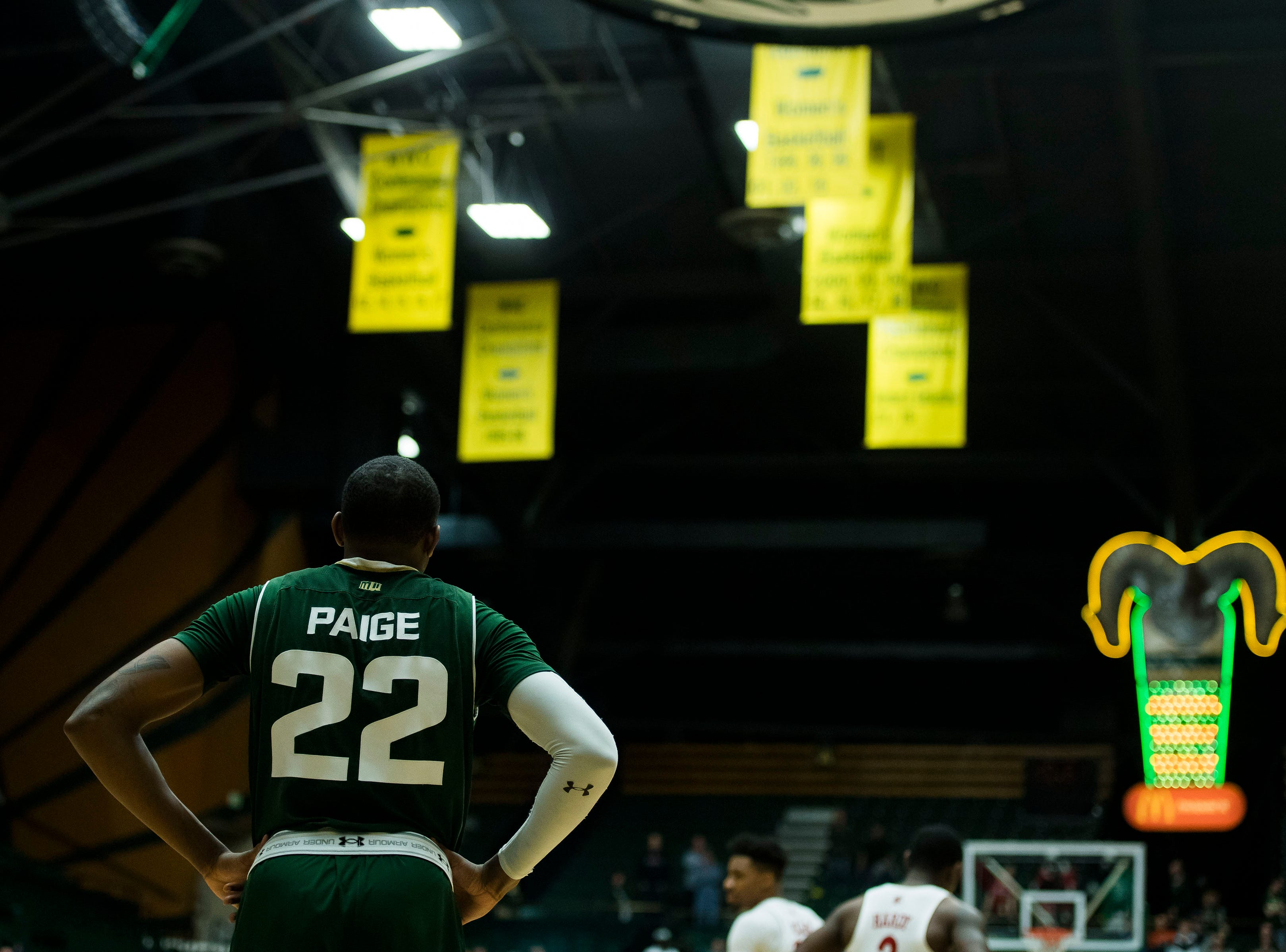 Colorado State University senior guar J.D. Paige (22) looks on late in the 4th period of his final home game against University of Nevada Las Vegas on Saturday, March 9, 2019, at Moby Arena in Fort Collins, Colo.