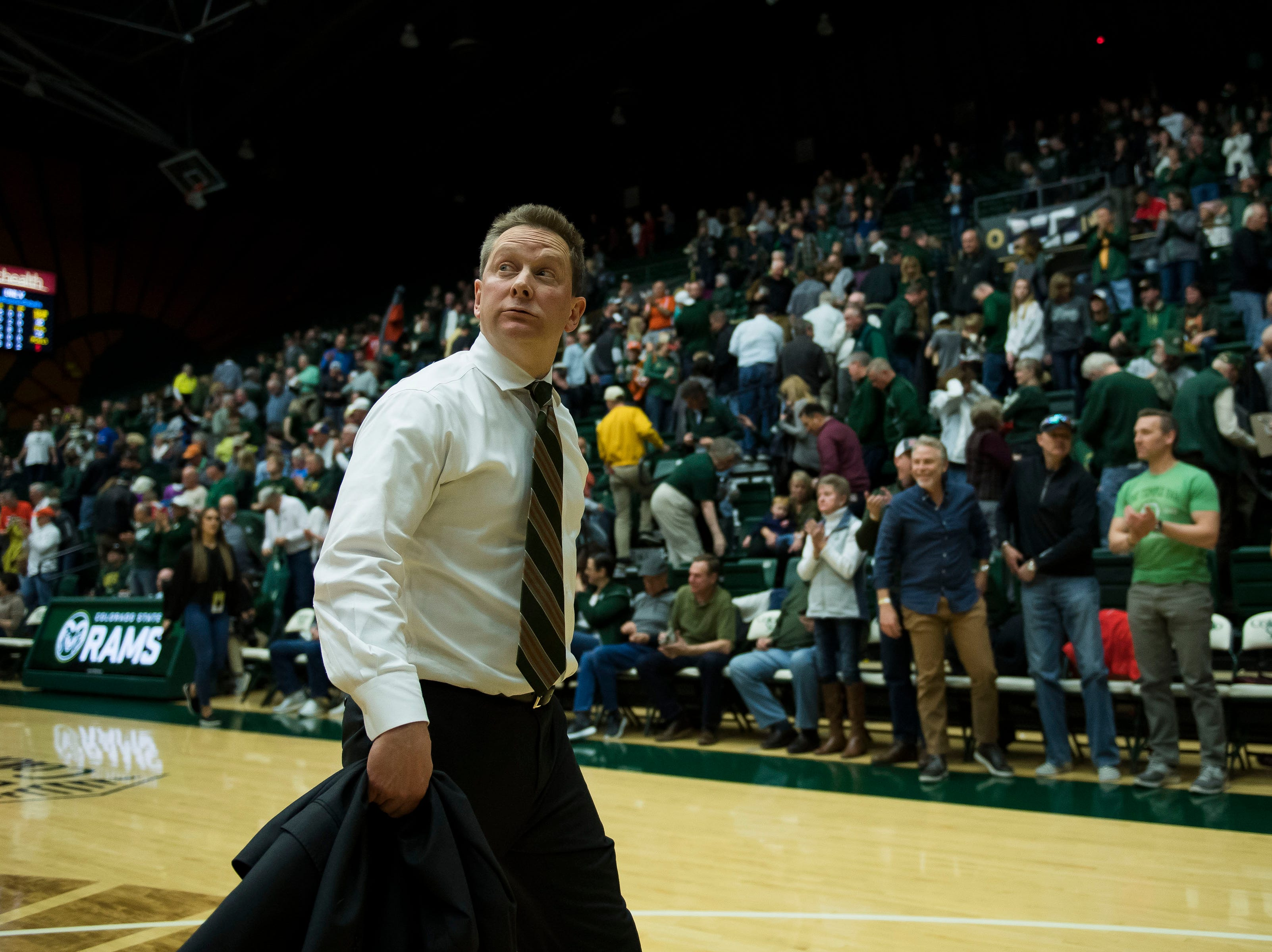 Colorado State University head coach Niko Medved walks off court after a 65-60 loss to University of Nevada, Las Vegas on Saturday, March 9, 2019, at Moby Arena in Fort Collins, Colo.