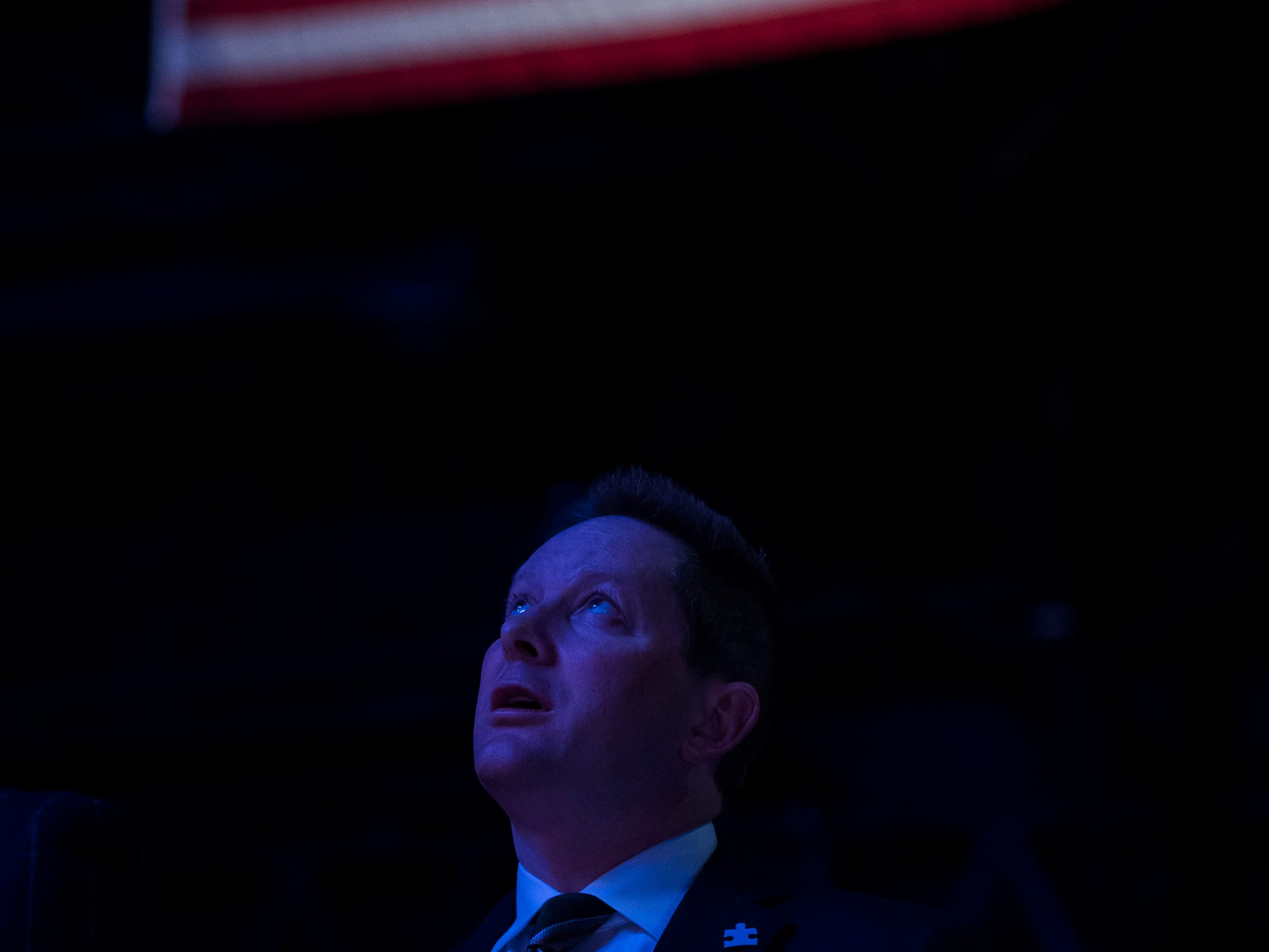 Colorado State University head coach Niko Medved looks up during the national anthem before a game against University of Nevada, Las Vegas on Saturday, March 9, 2019, at Moby Arena in Fort Collins, Colo.